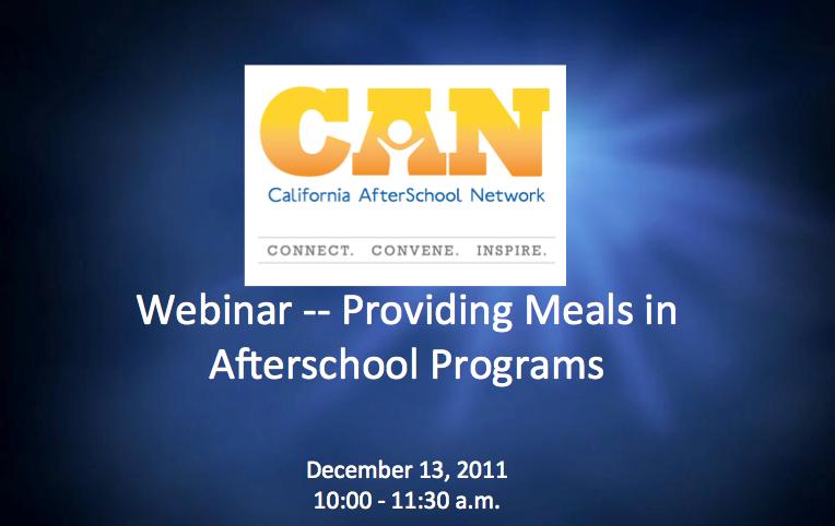 Free Webinar – Providing Meals in Afterschool Programs