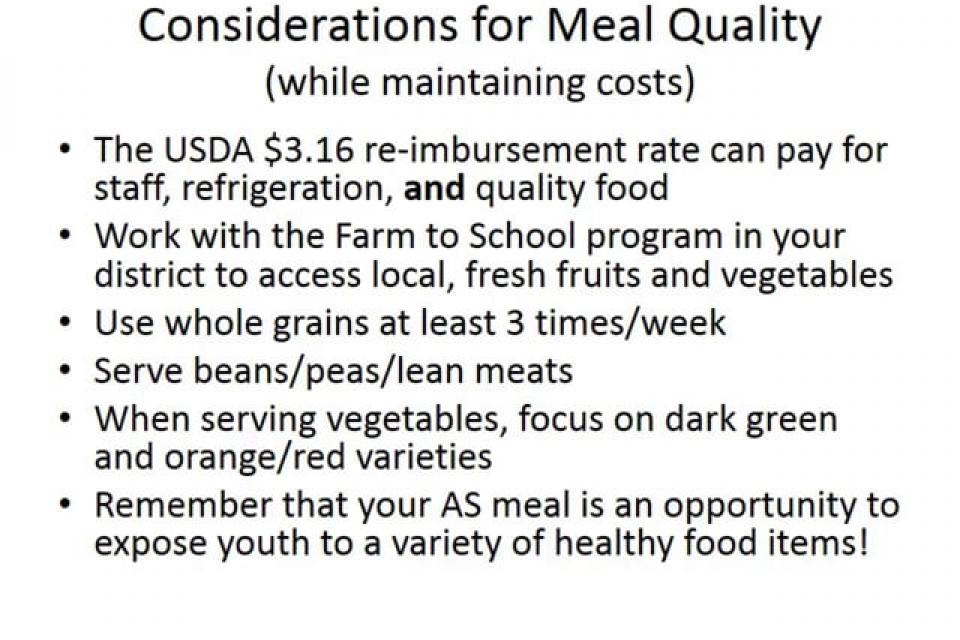 After School Meal Program: Menus and Meal Patterns
