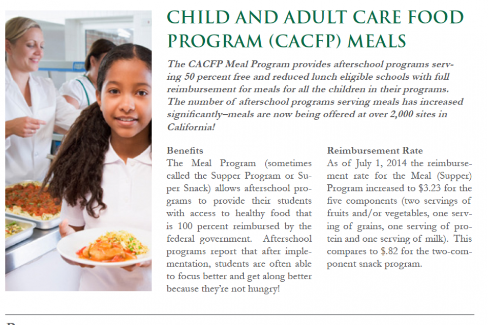 Image of CACFP After School Meal Program Efforts in California