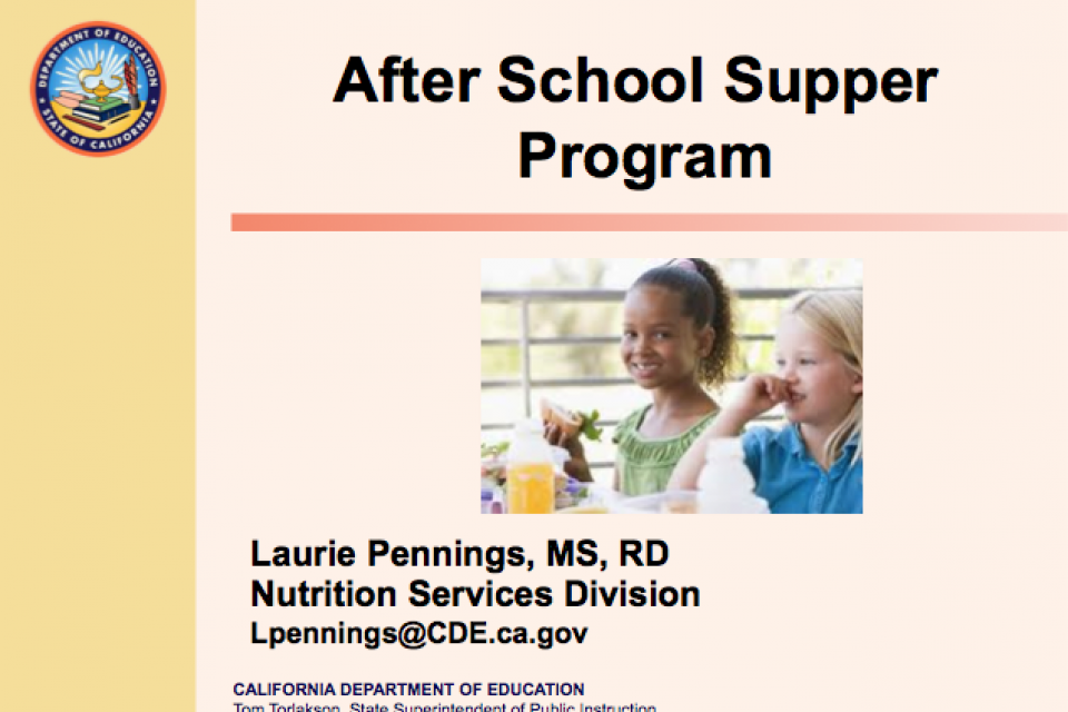 Implementing the At-Risk Afterschool Supper Component  of the Child and Adult Care Food Program