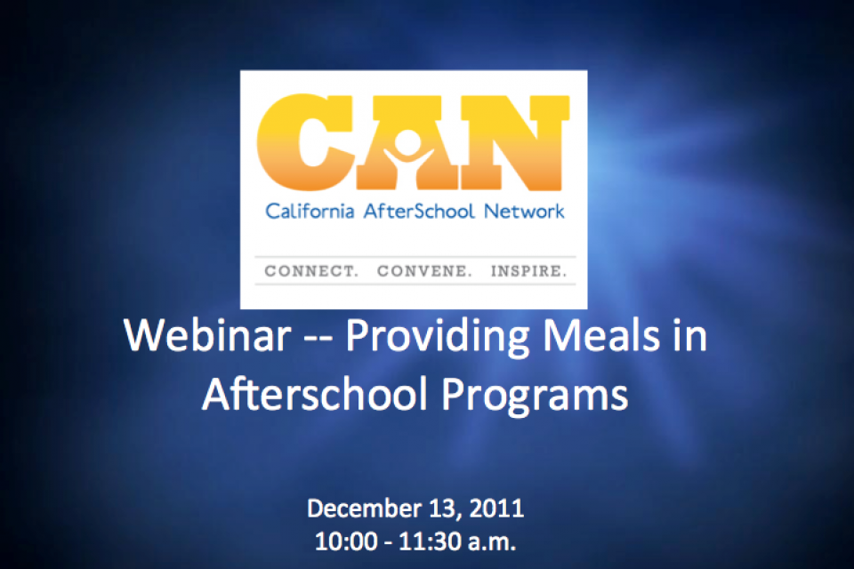 Free Webinar – Providing Meals in Afterschool Programs