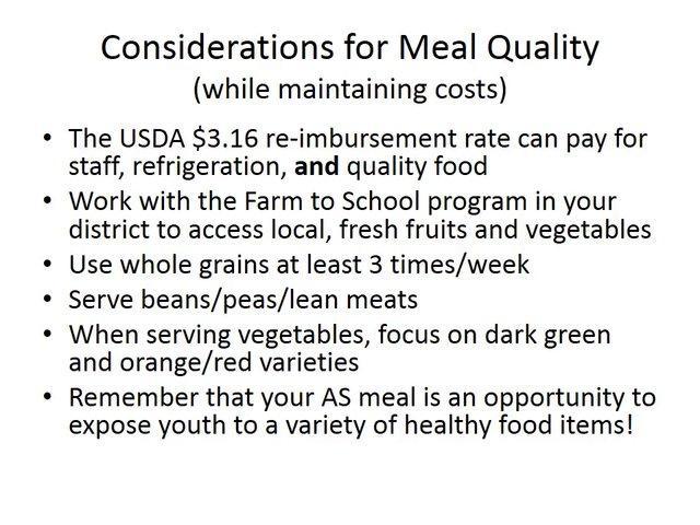 After School Meal Program (Child and Adult Care Food Program)