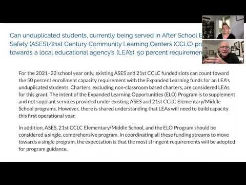 FAQ's Released for the New Expanded Learning Opportunities Program