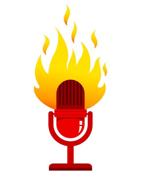Icon: Radio Microphone with Fire