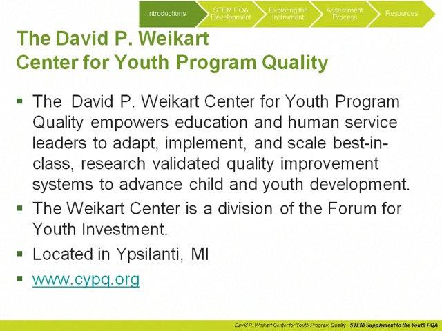 Program Quality Assessment (PQA)