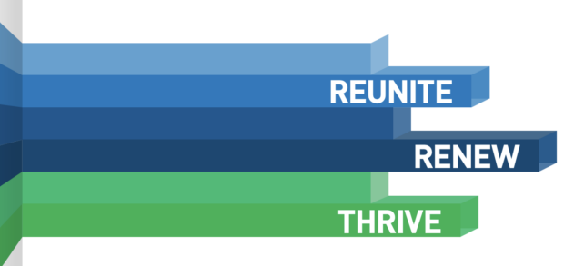 "Multi-colored rectangles stating ""Reunite, renew, thrive"""