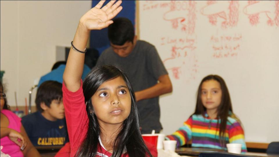 Girl raising hand in a classroom.