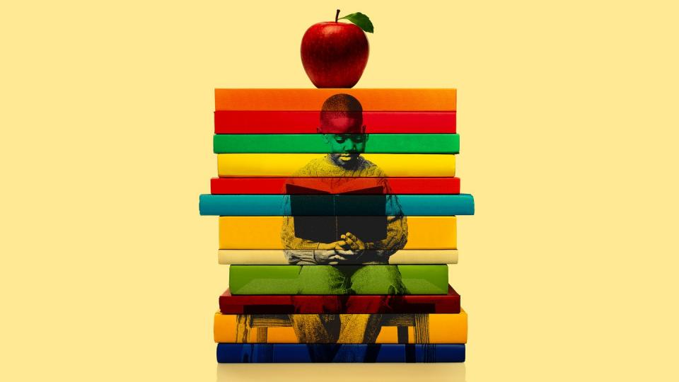 image of student overlaid on books with an apple