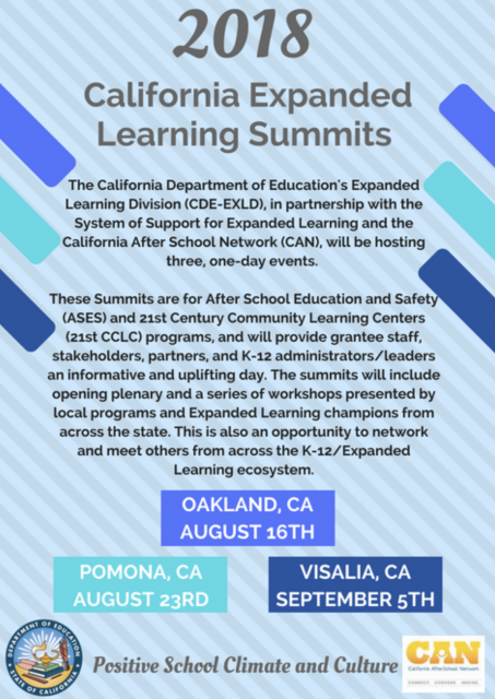 Past Event Flyer: 2018 CA Expanded Learning Summits