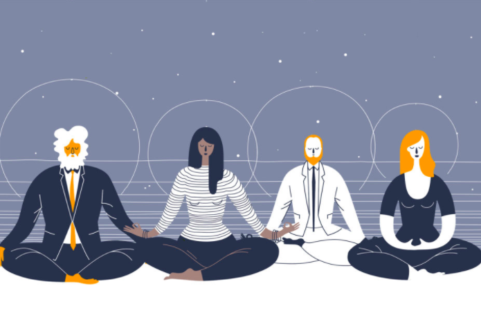 People sitting in meditation position