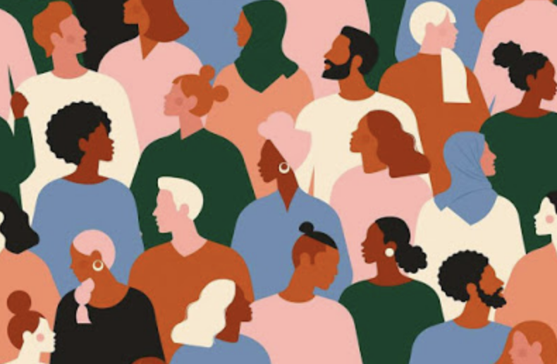 Color block image of diverse crowd