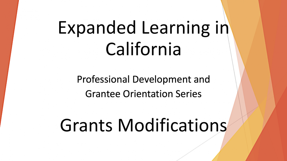 Introduction slide for Grant Modifications video