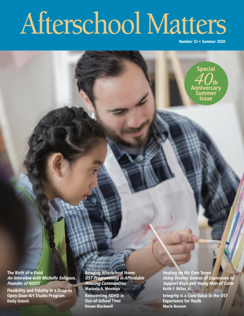 Front cover of Afterschool Matters magazine, image of teacher and student cooking