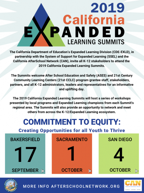 Flyer for 2019 California Expanded Learning Summits